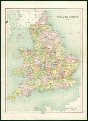 1912 Original Colour Antique Map  - BRITISH ISLES ENGLAND WALES (61)