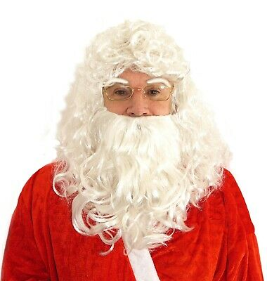 Wig Santa With beard and Eyebrows Father Christmas White Mustache Set Xmas Dress
