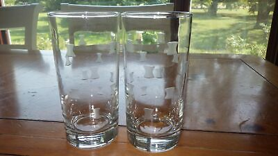 Vintage Anchor Hocking Tumblers Drinking glasses gray cut design 2 12oz flat
