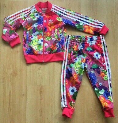 Age 3-4 Years ADIDAS Girls Bright Floral Print Tracksuit