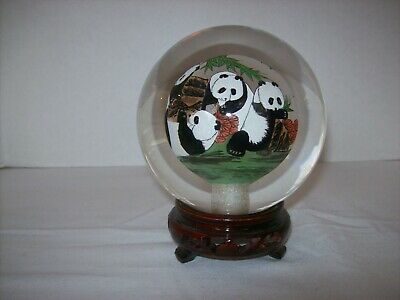 Asian Panda Bears Reverse Hand Painted Solid Glass Ball-Orb-Sphere-Globe w/Stand