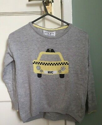Marks & Spencer Girls NYC Taxi Long Sleeve Grey Button Back Jumper UK Size5-6YRS