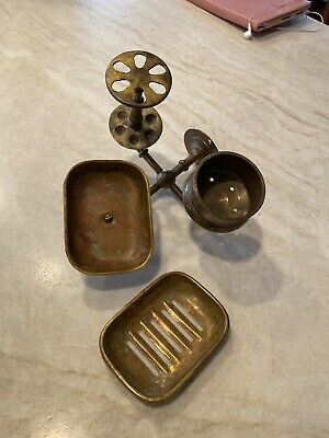 Antique/Vintage Brass Soap Toothbrush Cup Holder Set Wall Mount W/ Tray