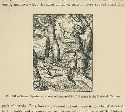 Antique German Hunter Hunting Wolfhound Dog Horn Woods Forest Nature Small Print