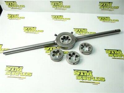 """Lot Of 4 Hss 2"""" Od Round Dies W/ Wrench 3/4""""-10 To 1""""- 8 Widell Vt Poland Regal"""