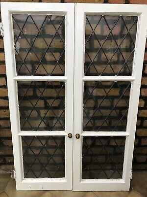 Traditional leaded light glass cupboard door panels