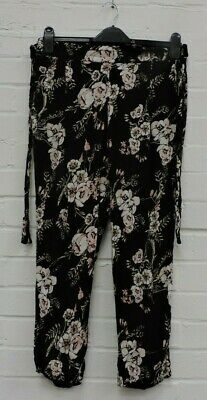 Ladies River Island Black Floral Patterned Stretch Waist Trousers UK 10 #R12-CE