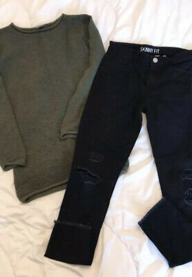 Girls Outfit, Age 10-11, Skinny Ripped Jeans And Khaki Jumper