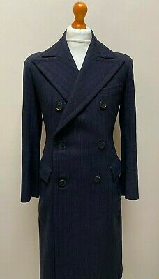 Vintage 1930's 1940's bespoke navy blue overcoat double breasted size 36 38