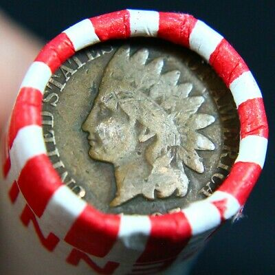 from coin show lot Wheat penny rolls with a Indian Head penny on the end