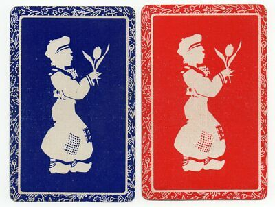 Vintage Playing Swap Cards : SILHOETTE DUTCH BOYS