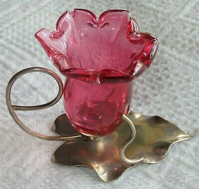 Antique Salt and Silver Plate Stand, Cranberry Glass