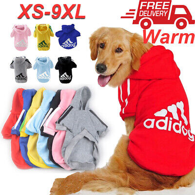 Winter Casual Adidog Pets Dogs Clothes Warm Hoodie Coat Jacket Clothing XS-9XL
