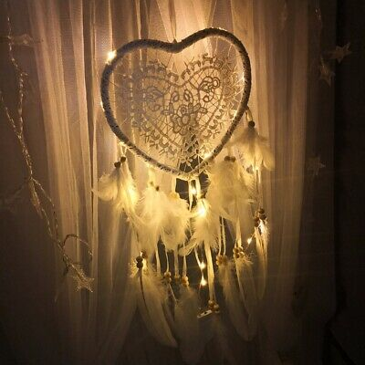 Xmas Handmade Hollow Dream Catcher with Feather Car Wall DIY  Light Ornament