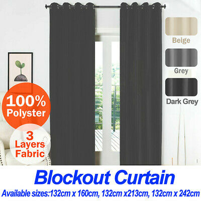 2X Blockout Curtains Fabric Pair Eyelet Thermal Blackout Curtains for any room