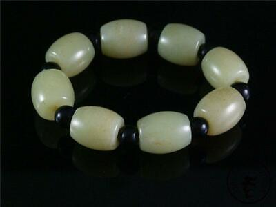 Fine Old Chinese Celadon Nephrite Jade Carved Beaded Bracelet Prayer Beads
