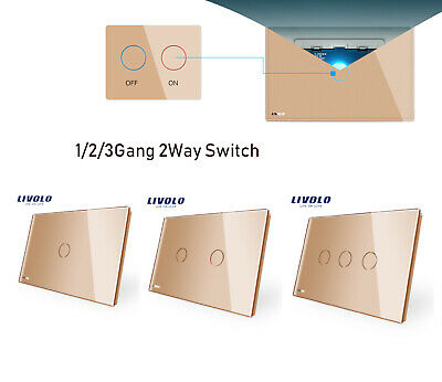 LIVOLO Home Use 1/2/3 Gang 2Way Wall Touch Light Luxtury Glass Panel Switch Gold