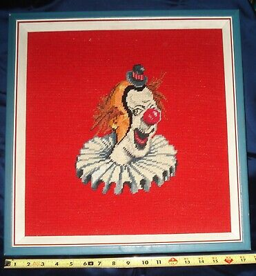 Vintage Completed Cross Stitch -Clown - Framed Without Glass