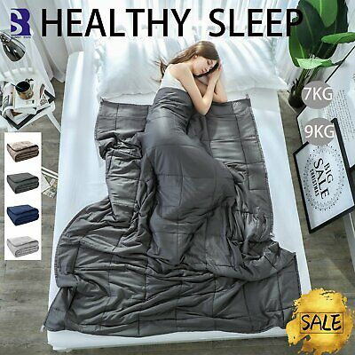 2 IN 1 Summer Winter 7/9KG Premium Cotton Weighted Blanket Adults Deep Relax