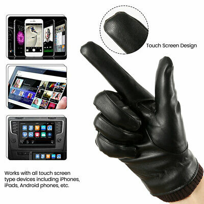 Men Women Winter Gloves Touch Screen Windproof Waterproof Leather Thick Warm US