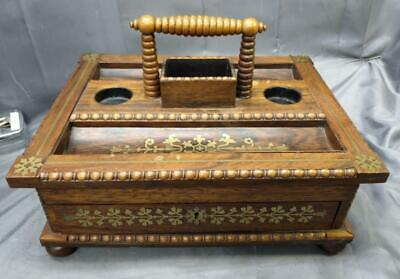 Antique Old Brass Boulle Inlaid Wood Double Inkwell Pen Tray Holder Stand Box