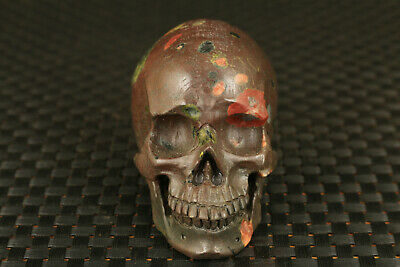 big unique chinese agate jade hand carved skull head statue figure collectable
