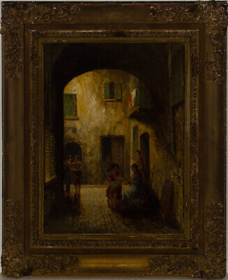 Fine Early 20th Century Oil - Figure in a Courtyard