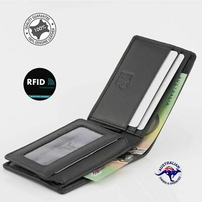 Genuine Leather Anti-RFID Blocking Men's Small Wallet Black Slim Compact New