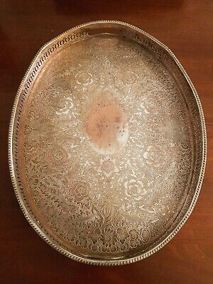 large old silver plate on copper gallery tray 20x15 inches