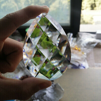 80MM Clear Teardrop Crystal Glass Faceted Prism SUNCATCHER Window Pendant Decor