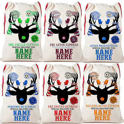 Personalised Football Christmas Sack Santa Large Reindeer Drawstring Xmas Bag