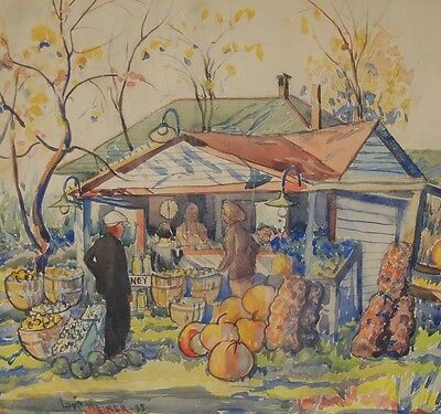 Vintage 1930 Depression Era Farm Stand Watercolor Painting Louis Weiner Chicago