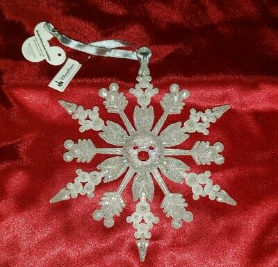 New Disney Parks Glittery Mickey Mouse Icon Snowflake Christmas Ornament Style 1