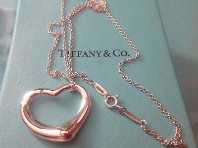 "Tiffany & Co Large 27mm Open Heart 18"" Necklace Sterling Silver 100%  Genuine"