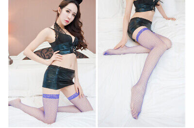 Lady Lace Stockings Sexy Pantyhose High Thigh Women Lingerie Fishnet Mesh