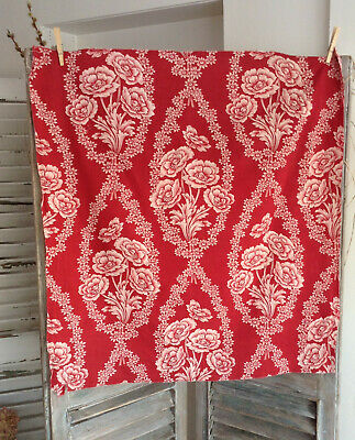Antique French Printed Red & Pink Toile Cotton Fabric19th Century Floral