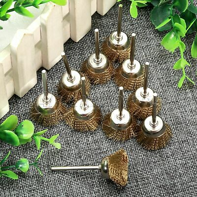 10Pc 25mm Brass Wire Cup Brush Wheel 3mm Shank Mandrel Grinder Power Rotary Tool