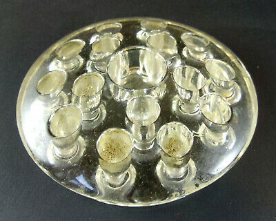Vintage Clear Glass 16 Hole Flower Frog 4 Inch Diameter