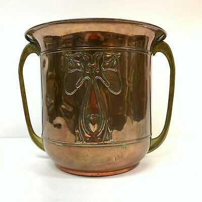 Antique Art Nouveau Arts & Crafts Copper Planter Jardiniere Vase Brass Handles