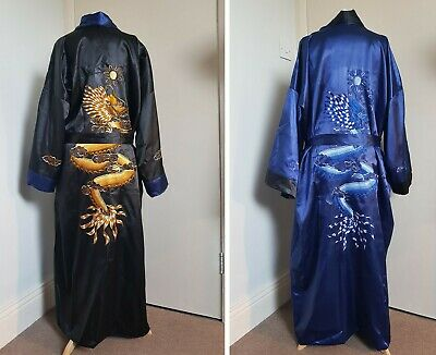 Original Vintage Men's Silk Thai Chinese Robe Dragon Embroidered Reversible 2XL