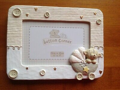 New baby - Button corner picture frame