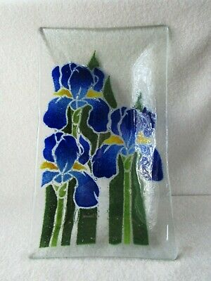 PEGGY KARR SIGNED BLUE IRIS FLOWER DISH FUSED ART GLASS TRAY 9.5 X 5.5 in.
