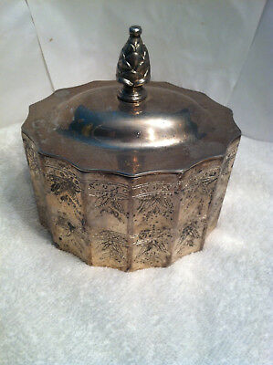 Vintage: Ornate Godinger Silver Plated  Jewelry Trinket Box w / Lid. , Nice !