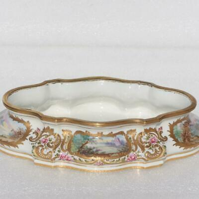 Antique French Sevres Porcelain Painted Soft Paste Jardiniere Planter Brass Rim