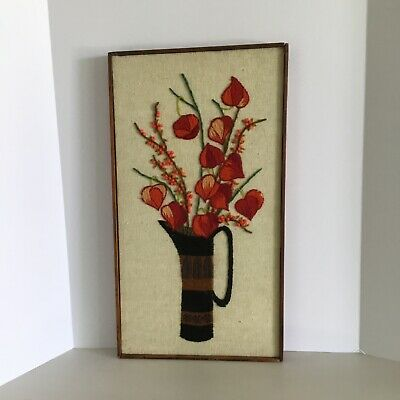 Vintage Mid-Century MCM Completed Long Stitch Embroidery Crewel Framed Flowers