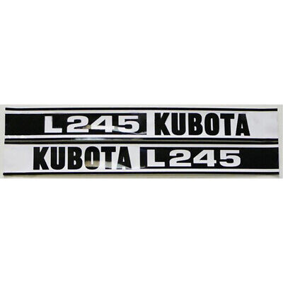 2-piece Black & White Hood Decal Set for Kubota Compact Tractor L245