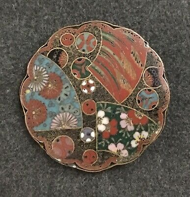 Rare Japanese antique Meiji period cloisonne brooch