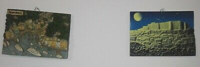 2 piece Embossed Picture Raised 3D hanging wall Italian Greece town relief panel
