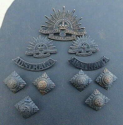 Ww11 Aif Australian Captains Rising Sun Hat, Collars,Shoulder Titles And Pips