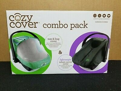 Cozy Cover - Sun Bug Cover Combo Pack - Infant Carrier Cover - Green & Charcoal